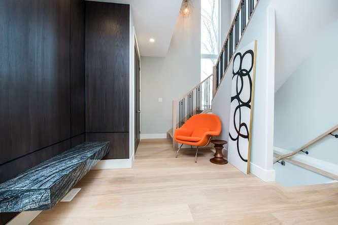 London Home Builders Millstone Homes - Stone Bench Accent Chair Light Wood Floors